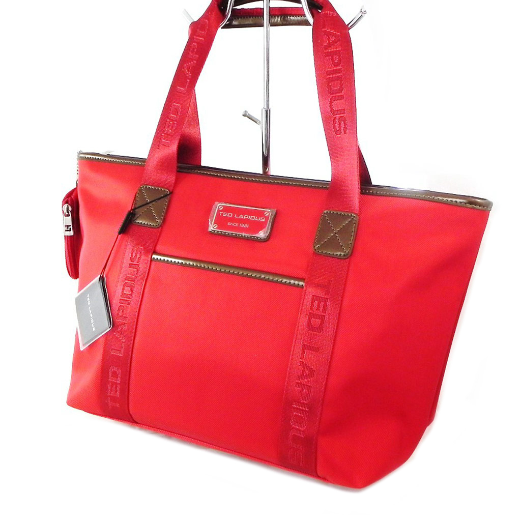 Sac shopping \'Ted lapidus\' rouge coquelicot  - 47x28x16 cm - [I7229]