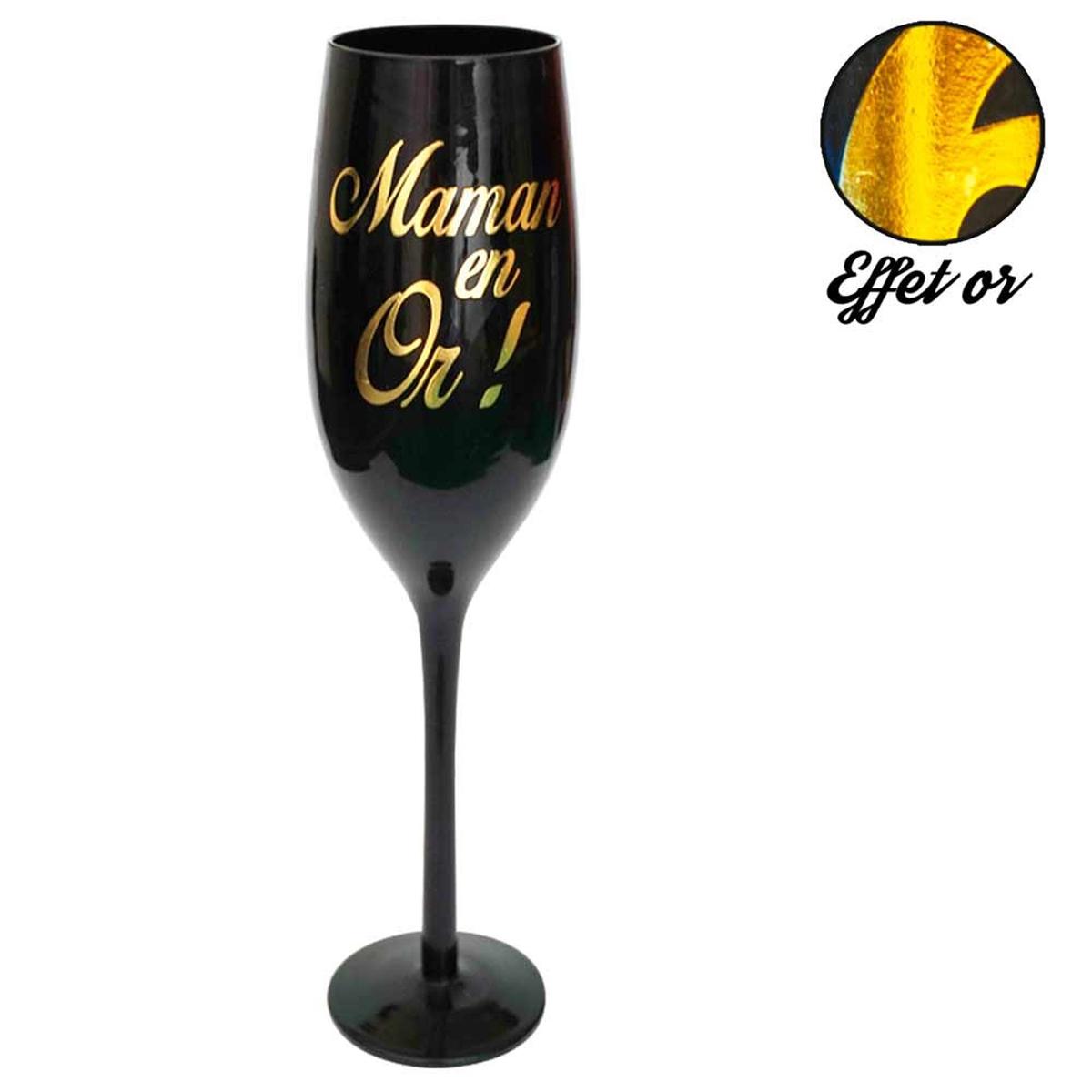 Coupe flute à champagne \'Maman en Or !\' noir doré - [M5045]
