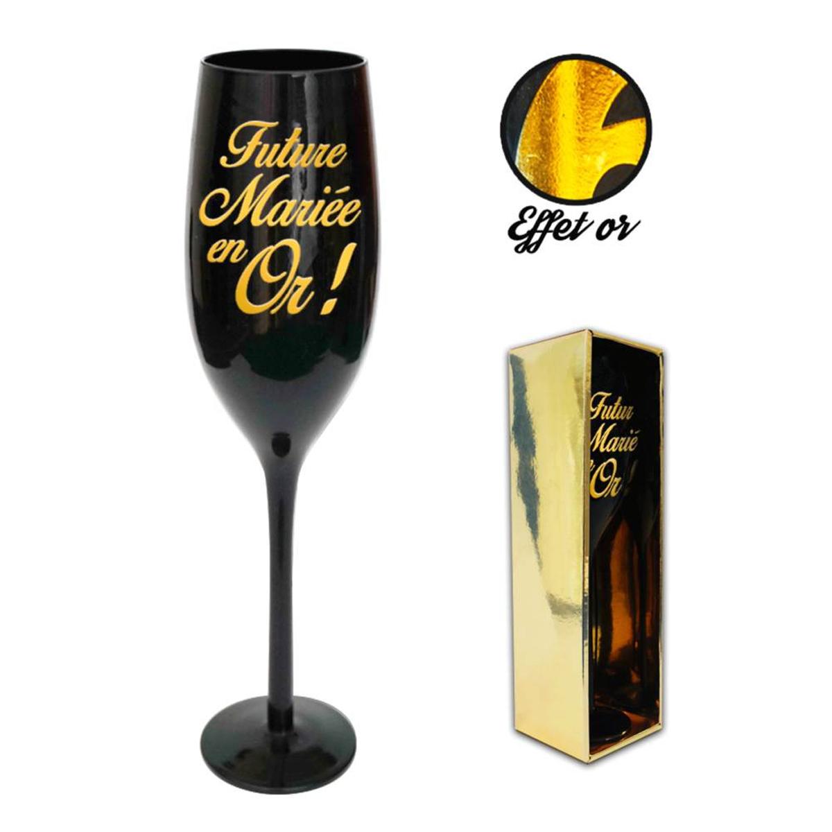 Coupe flute à champagne \'Futur Mariée en Or !\' noir doré - 24 cm - [N2742]