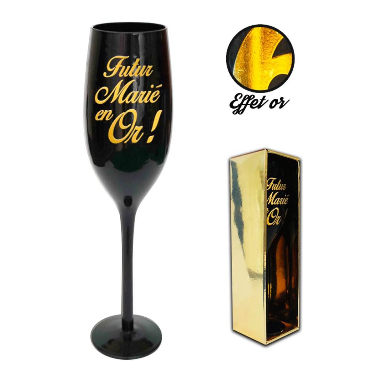 Coupe flute à champagne \'Futur Marié en Or !\' noir doré - 24 cm - [N2743]