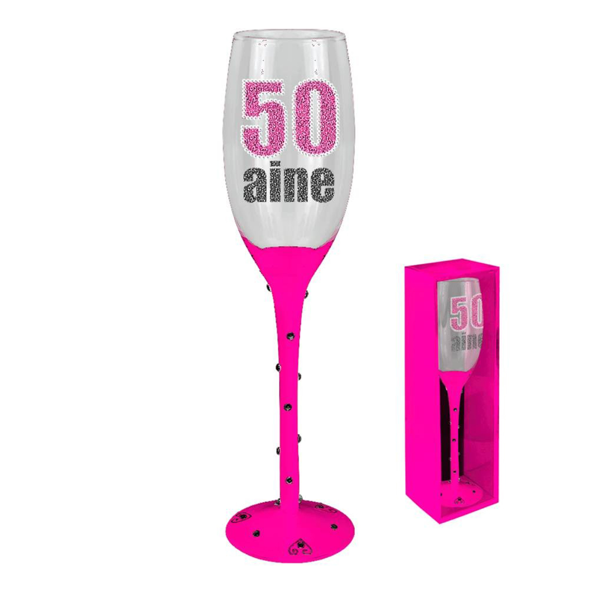Coupe flute à champagne \'50 ans\' rose - [N2748]