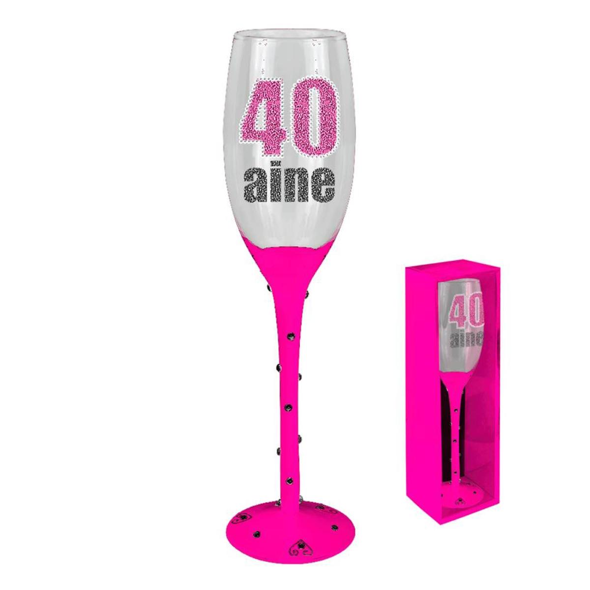 Coupe flute à champagne \'40 ans\' rose - 24 cm - [N4101]