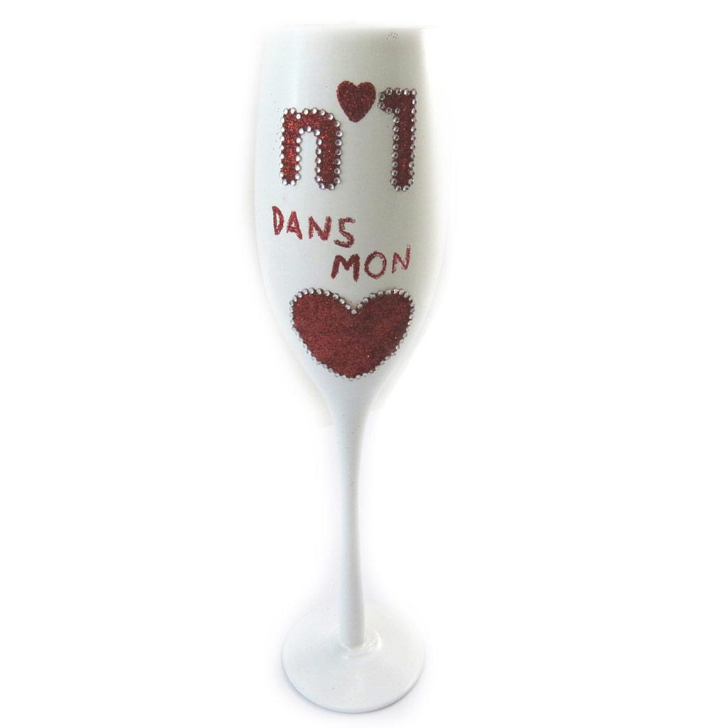 Coupe flute à champagne \'N°1 dans mon Coeur\' blanc rouge - 24 cm - [N4105]