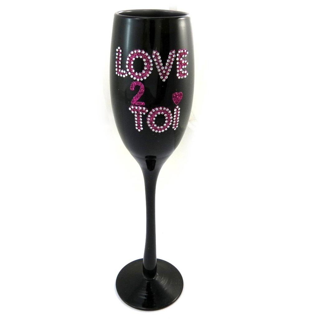 Coupe flute à champagne \'Love 2 Toi\' noir rose - [N4107]