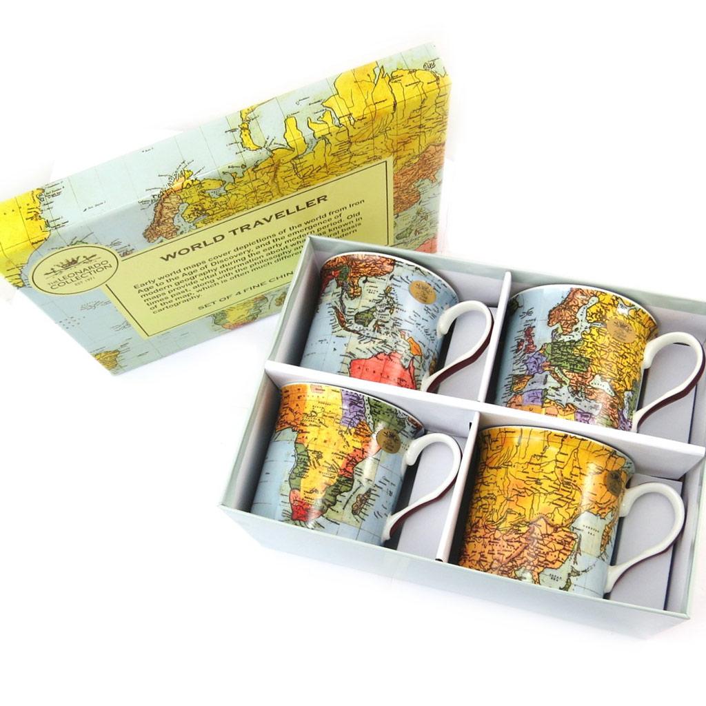 Coffret cadeau mugs porcelaine \'Globe Trotteur\' multicolore (4 mugs) - 90x80 mm - [N4824]