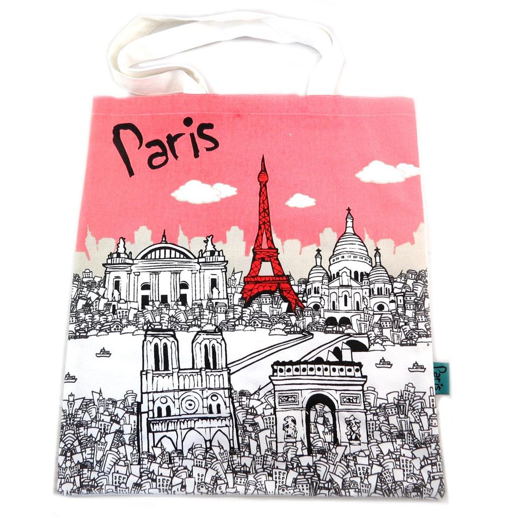 Sac coton / tote bag \'Paris\' rose blanc - 445x38 cm - [N7931]