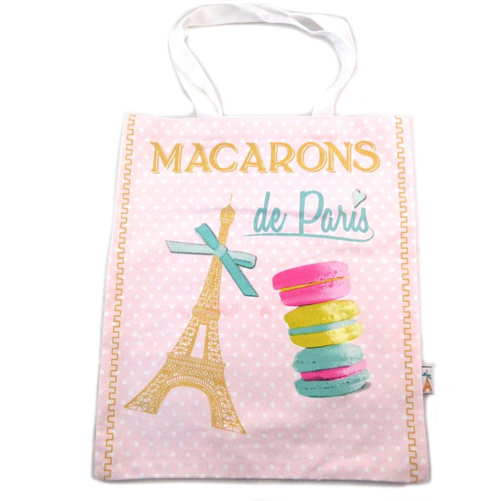 Sac coton / tote bag \'Macarons de Paris\' rose - 445x38 cm - [N7935]