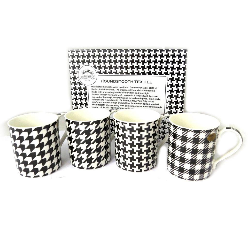 Coffret cadeau mugs porcelaine \'Pied de Poule \' noir blanc (4 mugs) - 85x85 mm - [N8504]