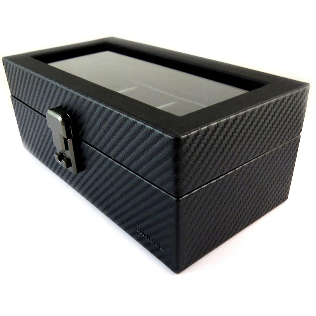 Coffret à montres \'Graphite Design\' noir (4 montres) - 215x11x85 cm - [N9381]