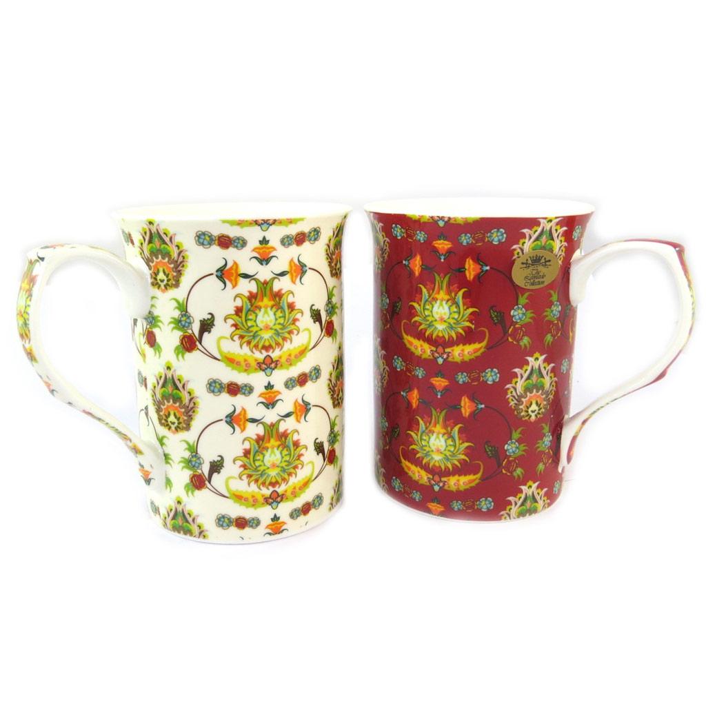 Coffret cadeau porcelaine \'Constantinople\'  beige rouge (2 mugs) - [N9643]