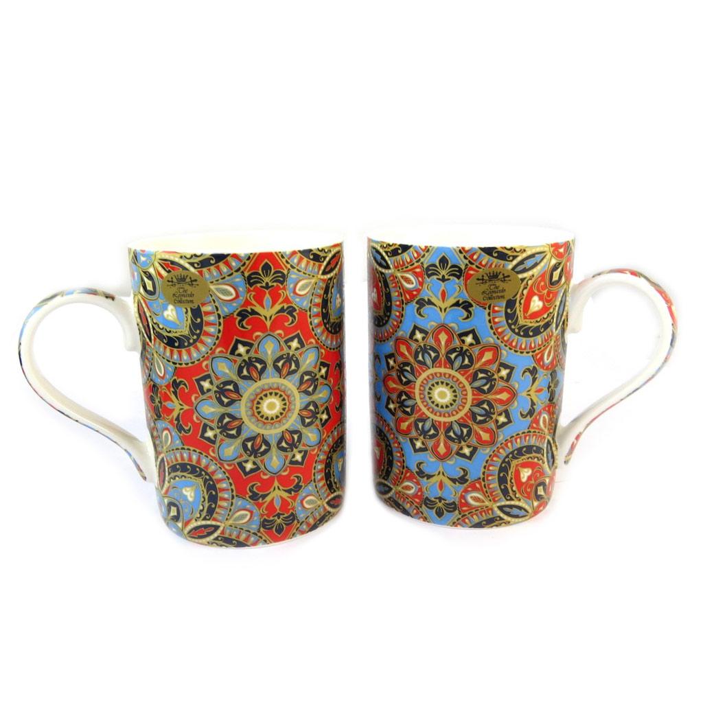 Coffret cadeau porcelaine \'Mandalay\' bleu rouge multicolore (2 mugs) - [N9646]