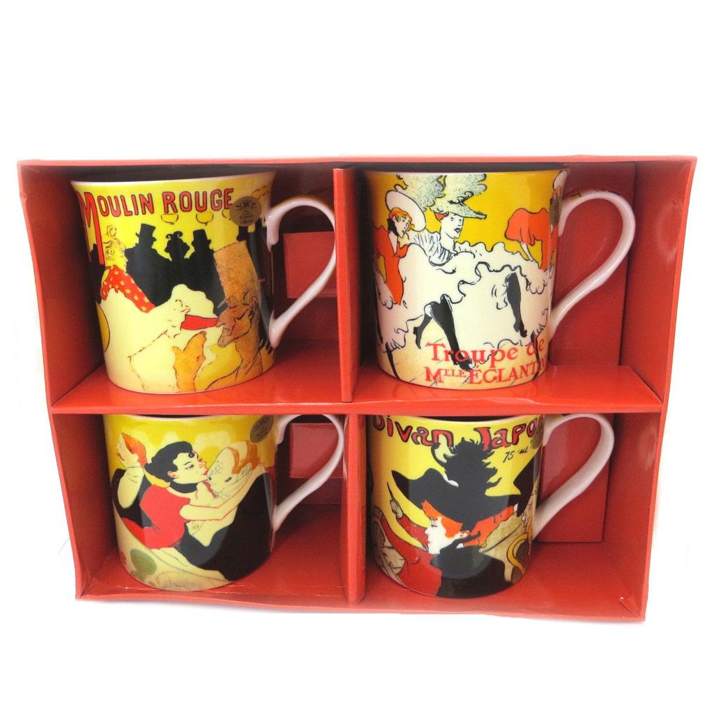 Coffret cadeau mugs porcelaine \'Toulouse Lautrec\' Moulin Rouge (4 mugs) - 85x85 mm - [P5210]