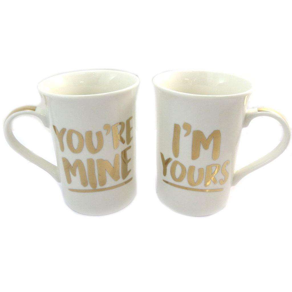 Duo de mugs porcelaine \'You\'re Mine & I\'m Yours\' ivoire doré (2 mugs) - [P5214]