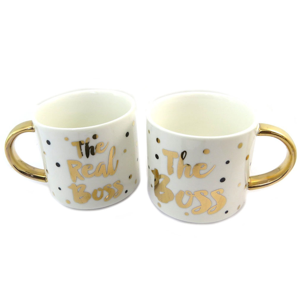 Duo de mugs porcelaine \'The Boss and the Real Boss\' ivoire doré (2 mugs) - [P5216]