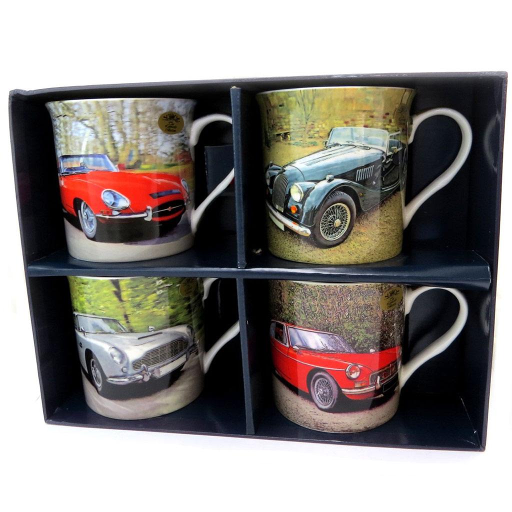 Coffret cadeau mugs porcelaine \'Voitures de Collection\' (4 mugs) - 85x85 mm - [P5219]