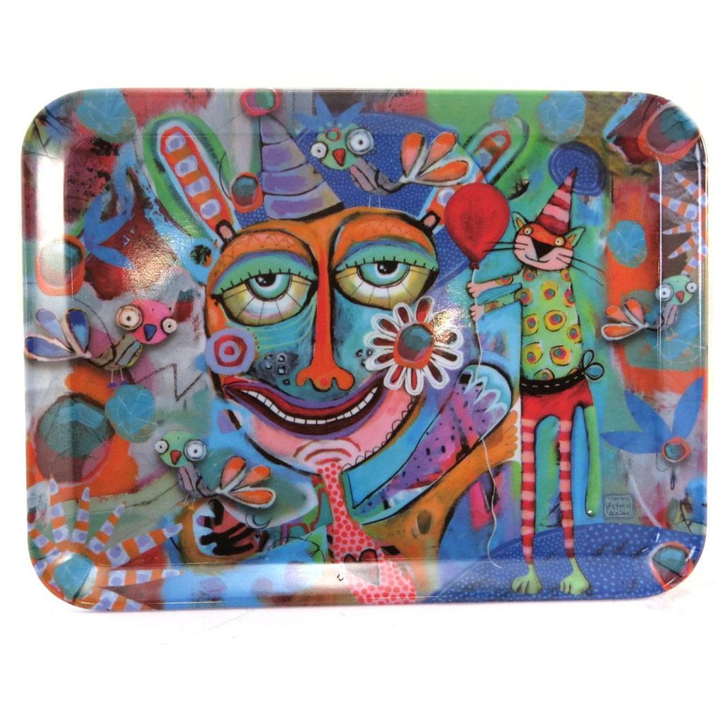 Petit plateau \'Allen Designs\' multicolore (fête) - 24x18 cm - [P5693]