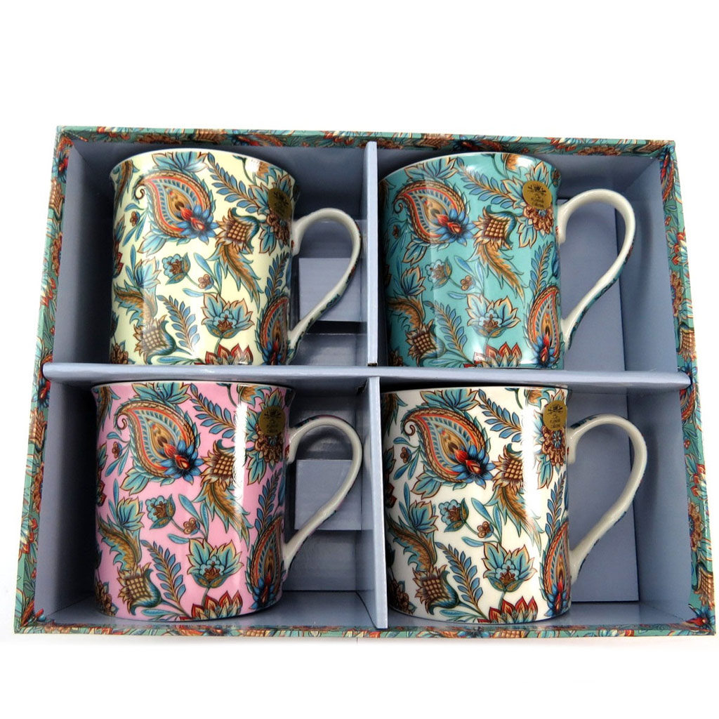 Coffret cadeau mugs porcelaine \'Oriental Paisley\' tutti frutti (4 mugs) - 85x85 mm - [P6504]
