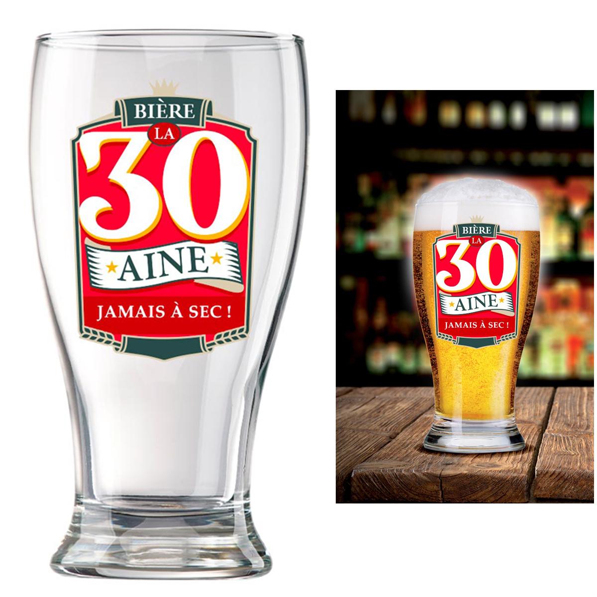 Verre à bière \'30 ans\' (Jamais à sec !)  - 16x8 cm - [P8543]