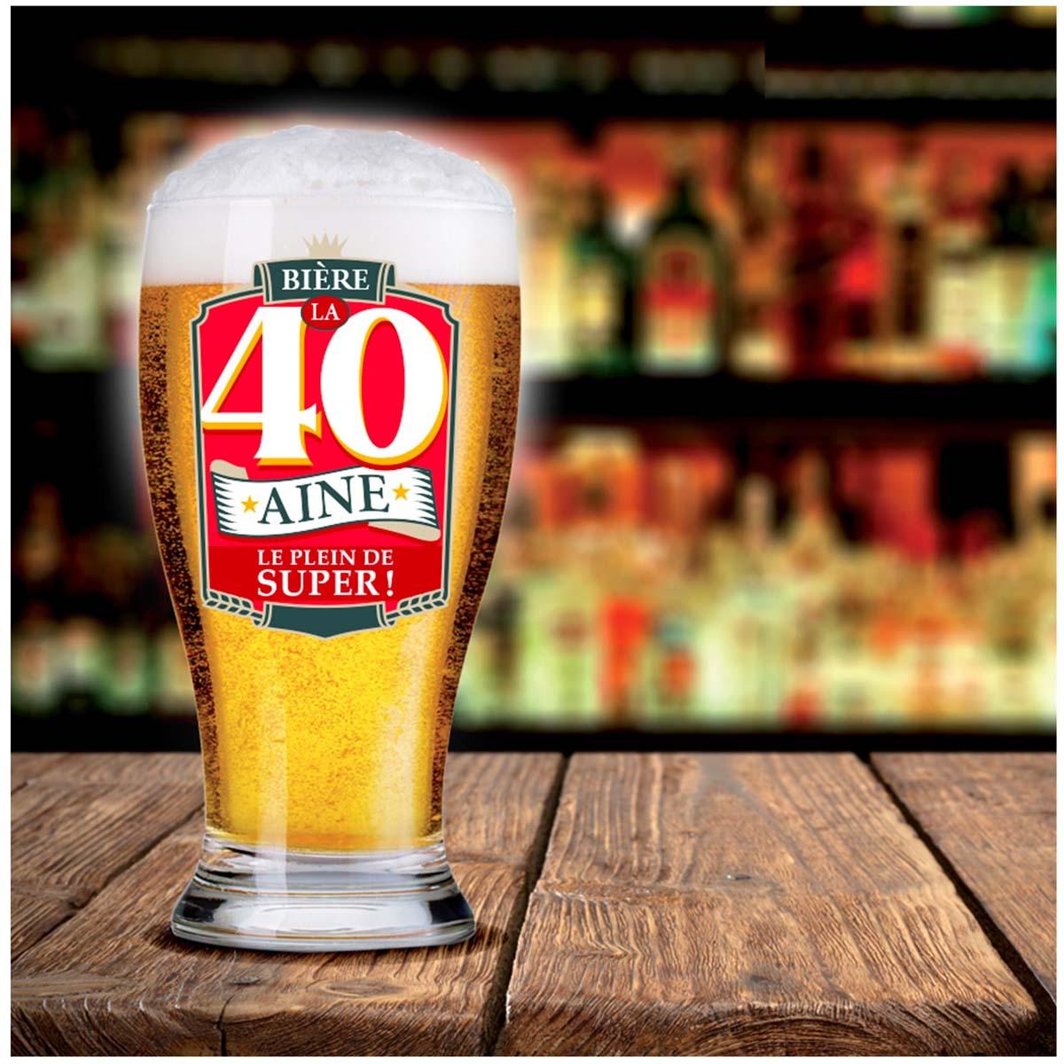 Verre à bière \'40 ans\' (Le plein de super !)  - 16x8 cm - [P8544]
