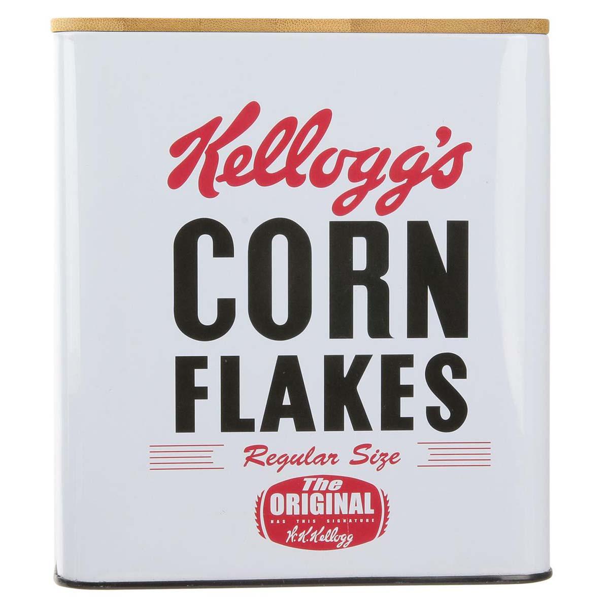 Boite métal bois \'Kellogg\'s\' blanc (Corn Flakes) - 16x14x14 cm - [P9222]