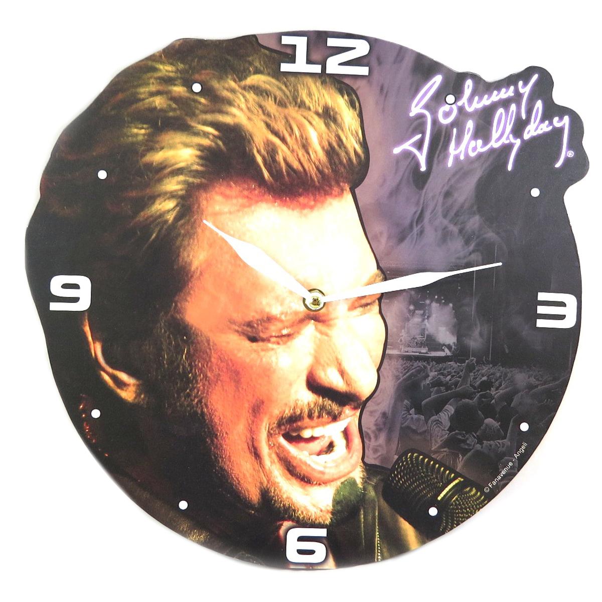Horloge Murale \'Johnny Hallyday\' (au micro) - 32 cm - [P9994]