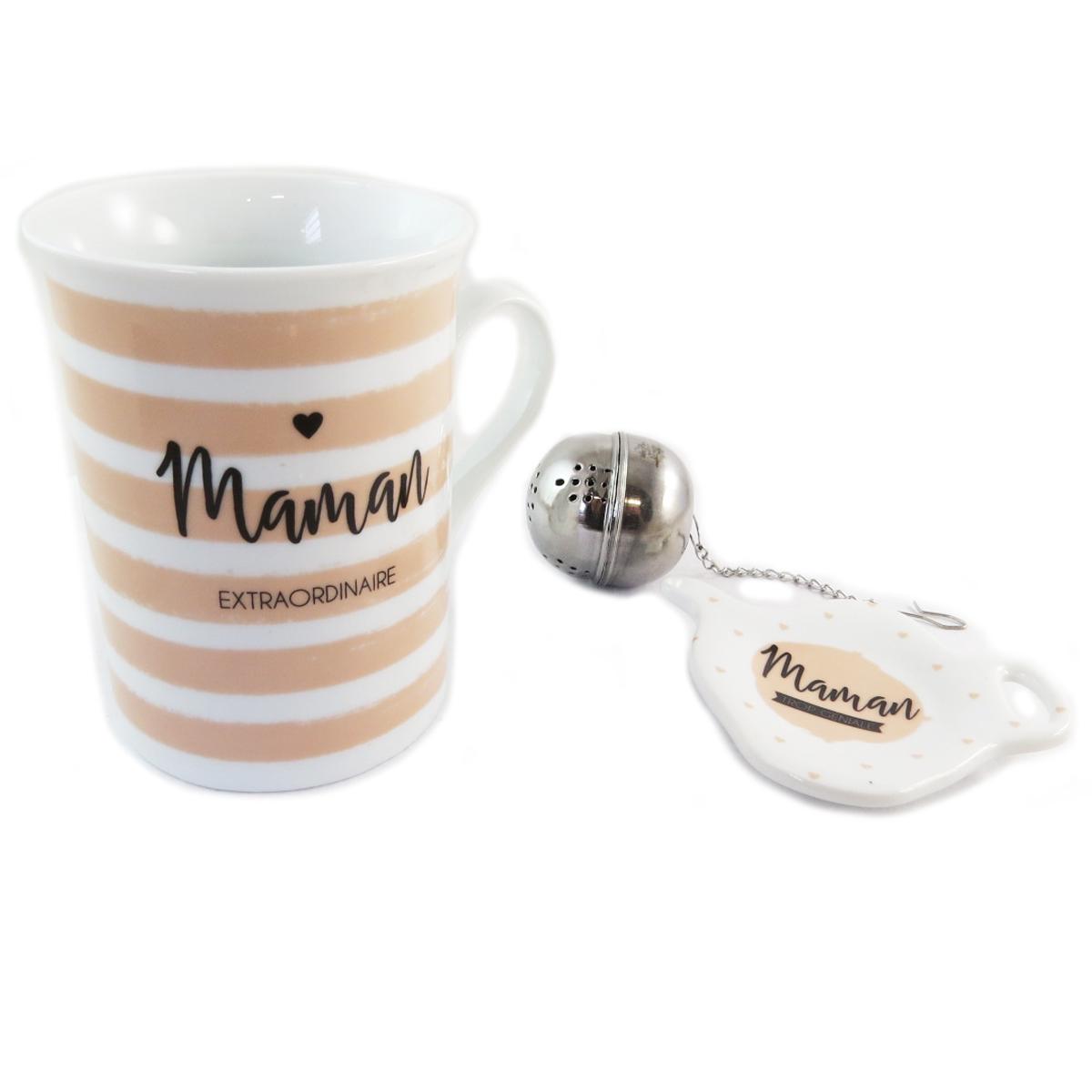 Coffret à thé \'Maman Extraordinaire\' beige blanc - [Q0330]