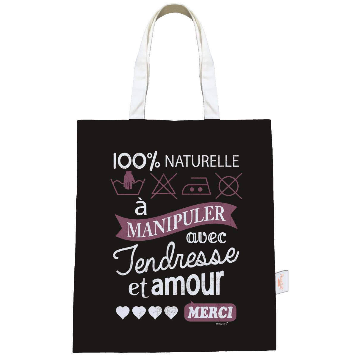 Sac coton / tote bag \'Messages\' noir (100% Naturelle) - 44x38 cm - [Q0592]