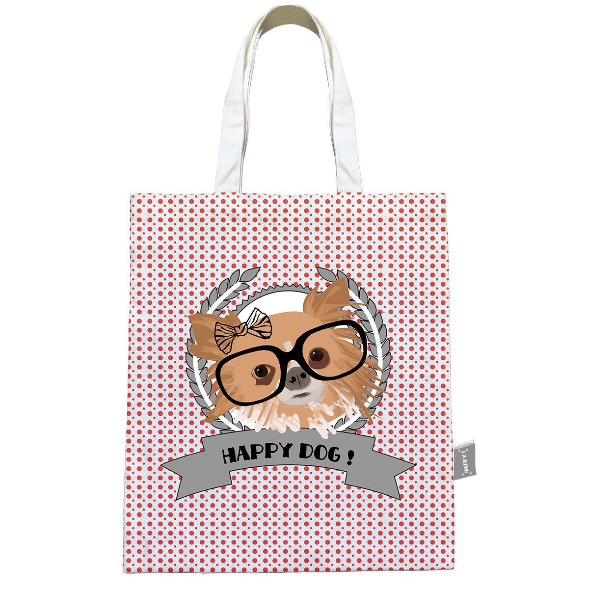 Sac coton / tote bag \'Happy Dog\' (lunettes) - 44x38 cm - [Q0595]
