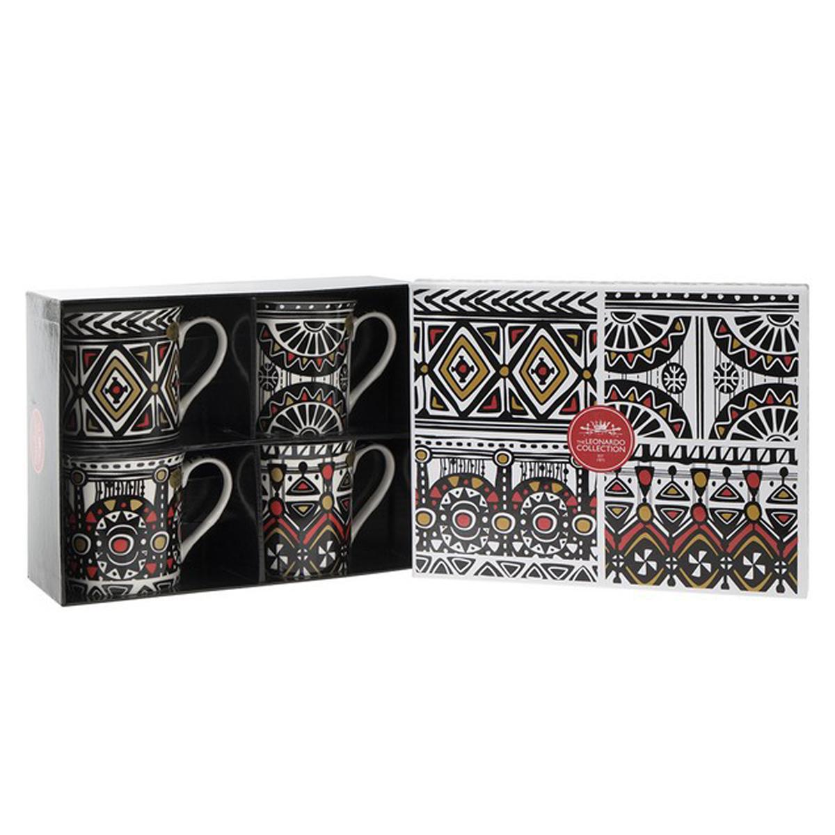 Coffret mugs porcelaine \'Tribal\' noir blanc (4 mugs) - 85x85 mm - [Q1578]