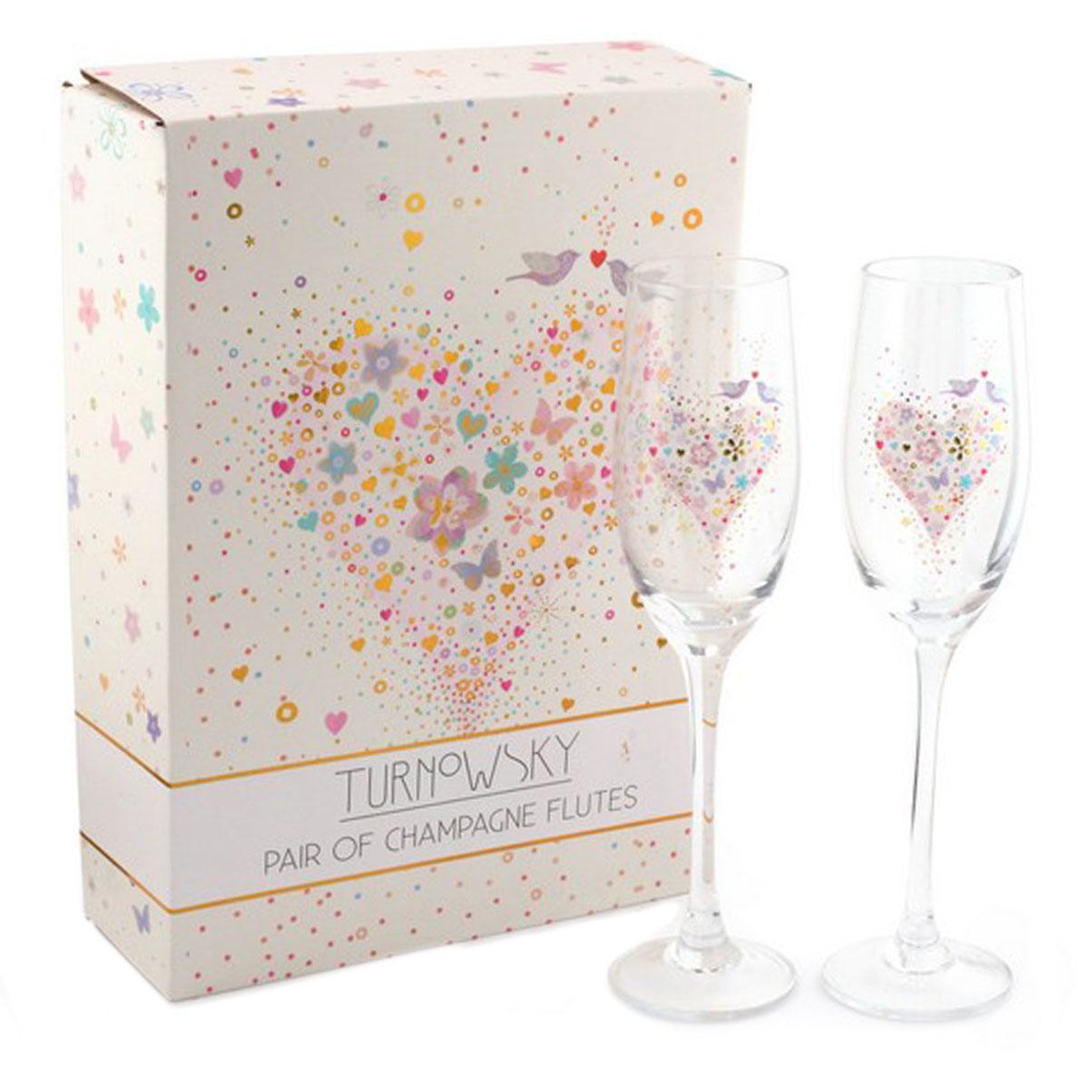 2 coupes flutes à champagne \'Love\' multicolore - 235 cm - [Q1657]
