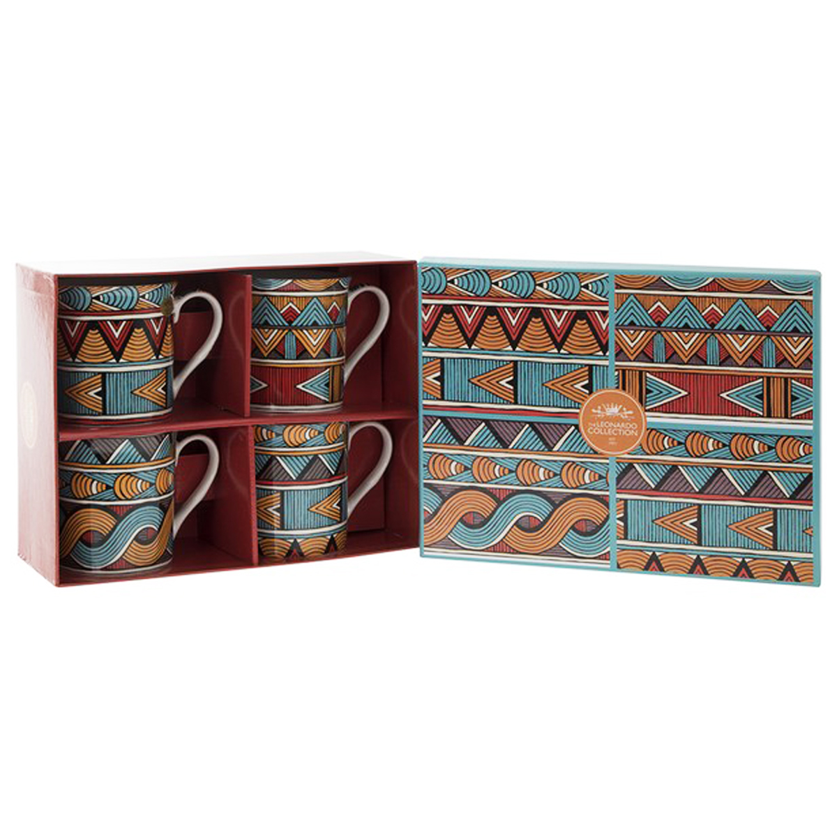 Coffret mugs porcelaine \'Bali\' marron turquoise (4 mugs) - 85x85 mm - [Q1663]