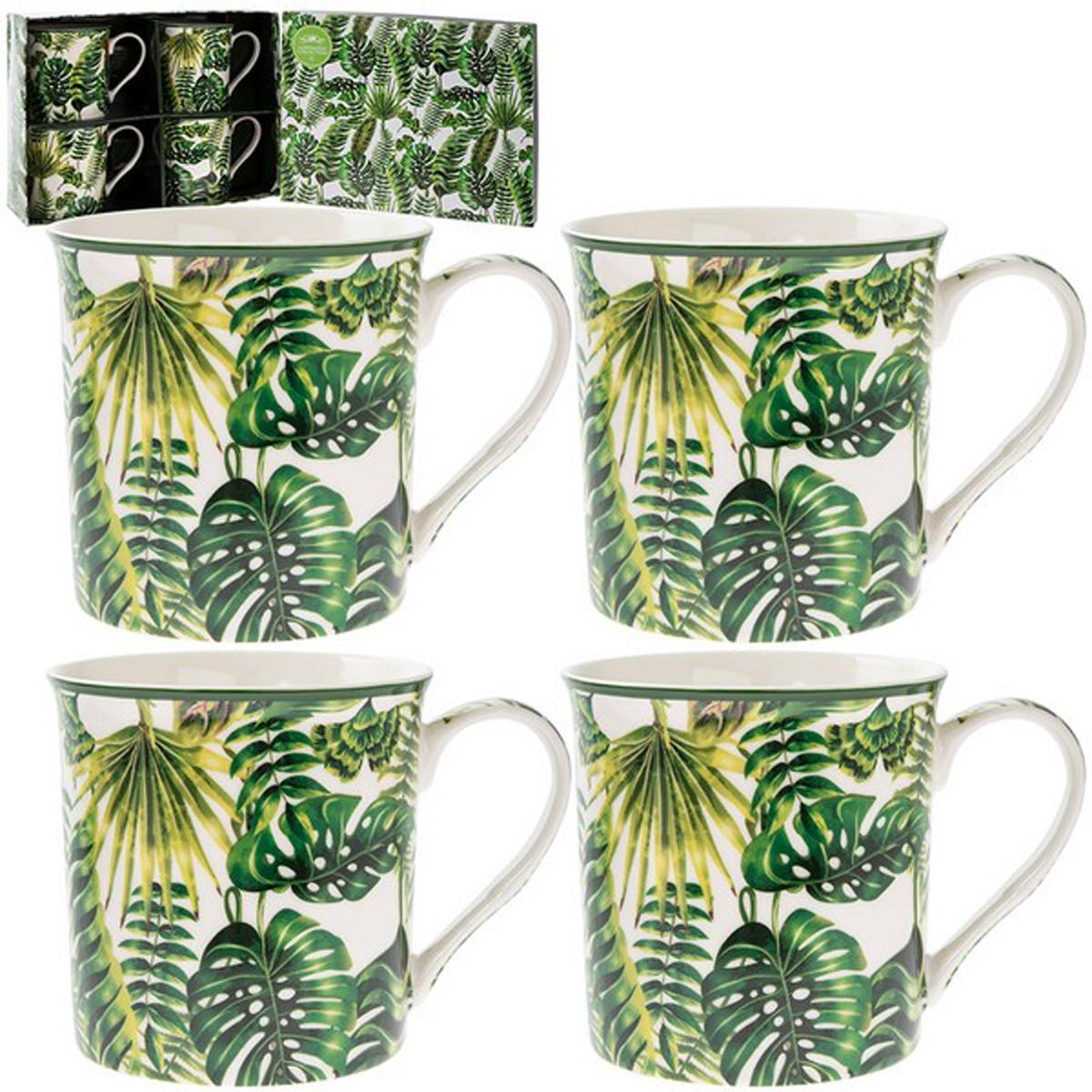 Coffret mugs porcelaine \'Jungle\' vert blanc (4 mugs) - 85x85 mm - [Q2785]