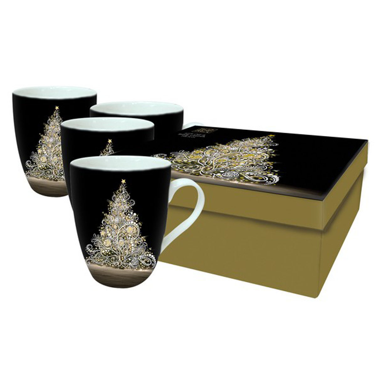 Coffret 4 mugs porcelaine \'Bug Art\' (sapin noël) - 105x7 mm - [Q2816]