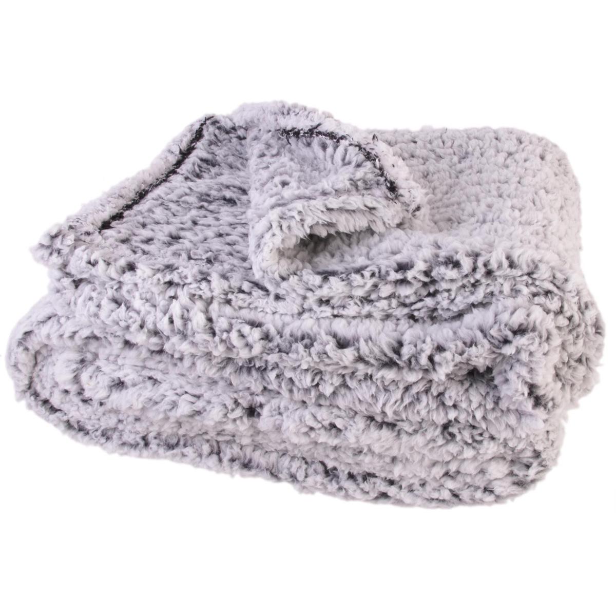 Plaid fourrure \'Sherpa\' gris - 150x120 cm - [Q4760]