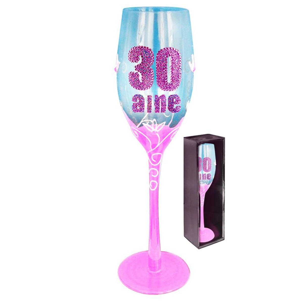 Coupe flute à champagne \'30 aine\' rose - 24 cm - [Q5581]