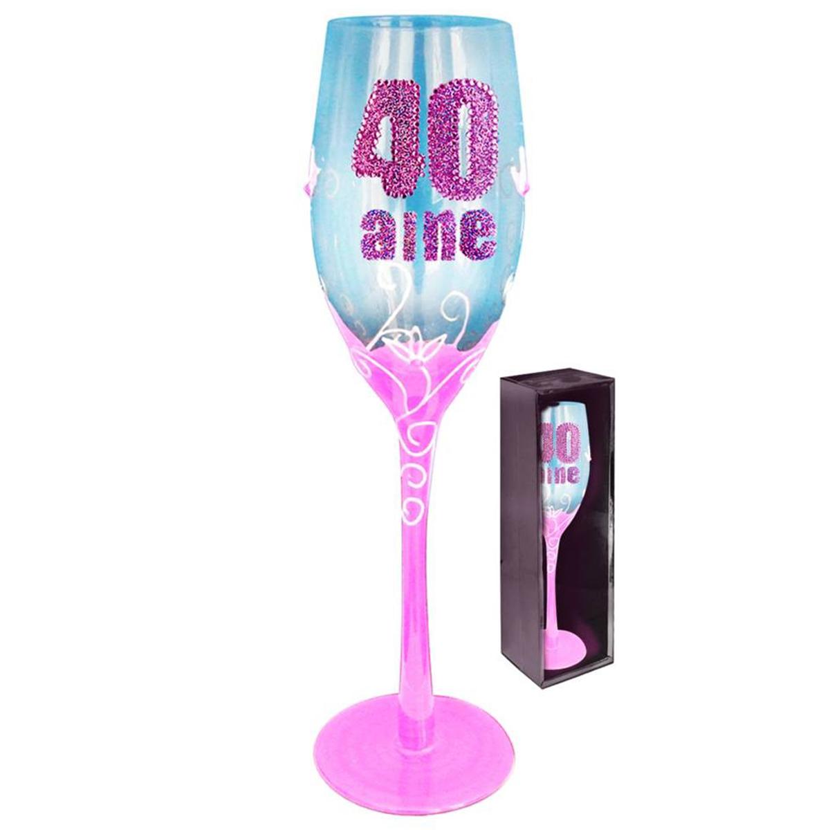 Coupe flute à champagne \'40 aine\' rose - 24 cm - [Q5583]