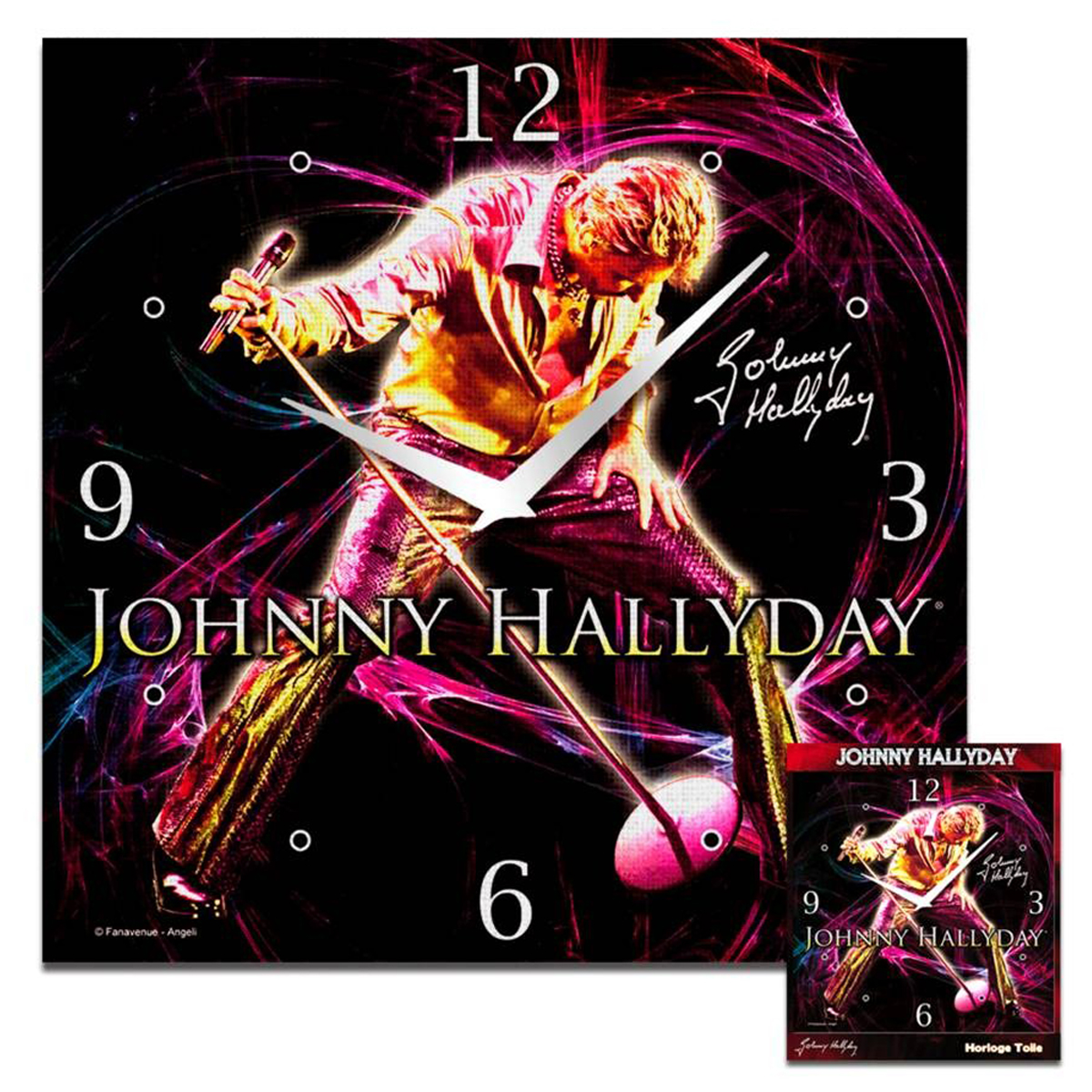 Horloge toile carrée \'Johnny Hallyday\' (concert) - 28x28 cm - [Q5881]