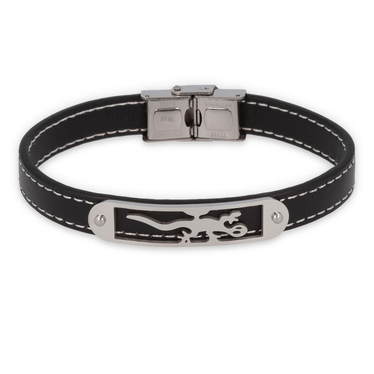 Bracelet acier \'Salamandre\' Cuir / Acier - 10 mm - [Q6998]