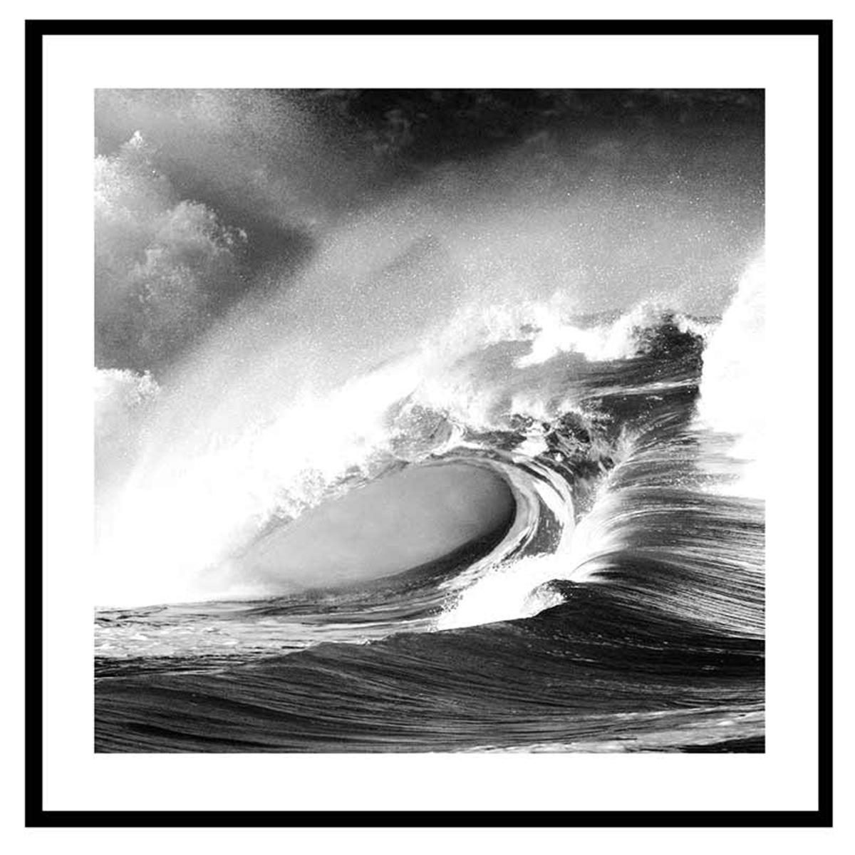 Cadre verre \'Noir & Blanc\' (magnifique vague) - 45x45 cm - [Q7660]
