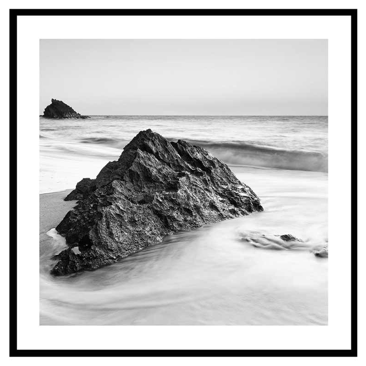 Cadre verre \'Noir & Blanc\' (récif nature) - 45x45 cm - [Q7662]