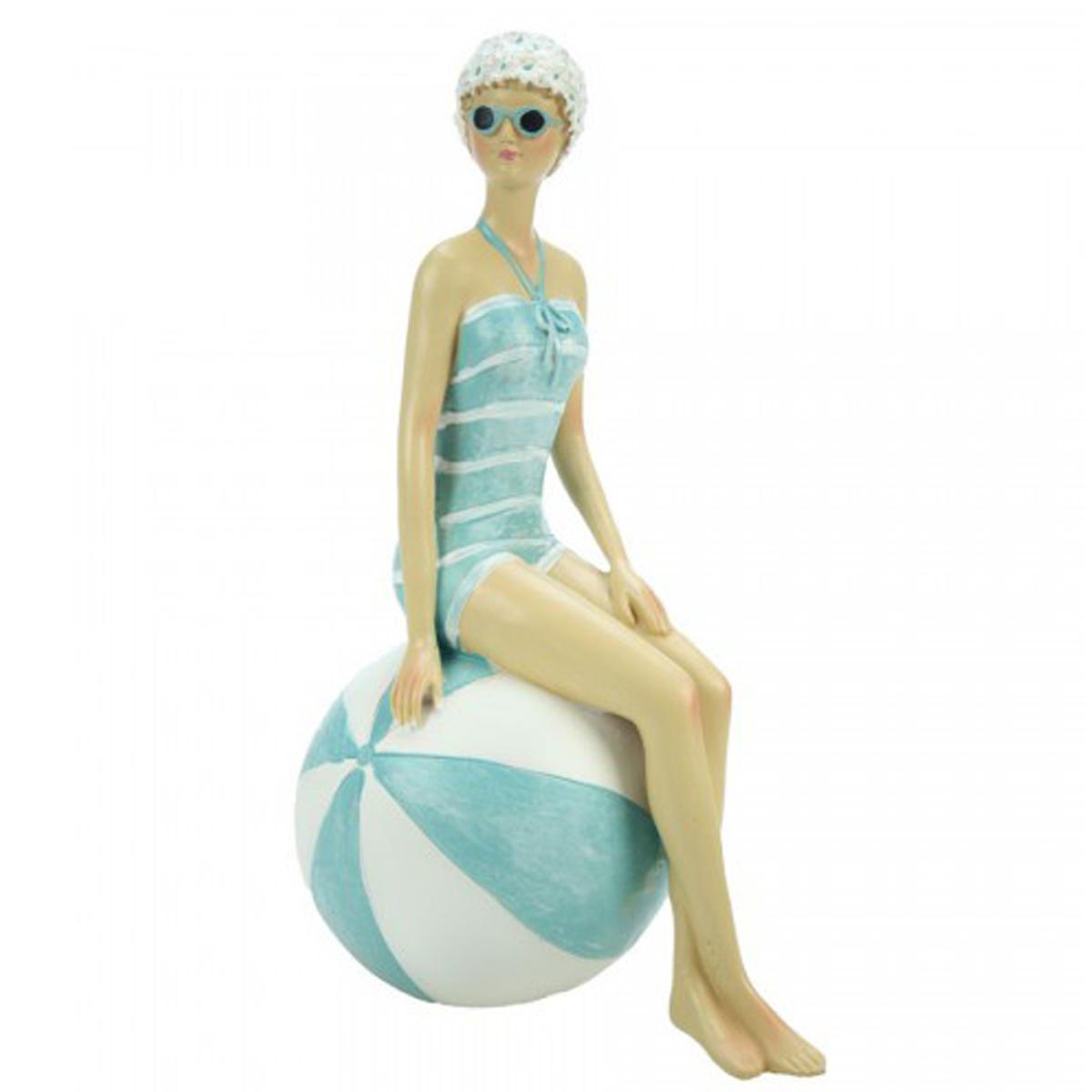 Figurine résine rétro \'Les Baigneuses\' bleu beige - 205x125x85 cm - [Q8255]