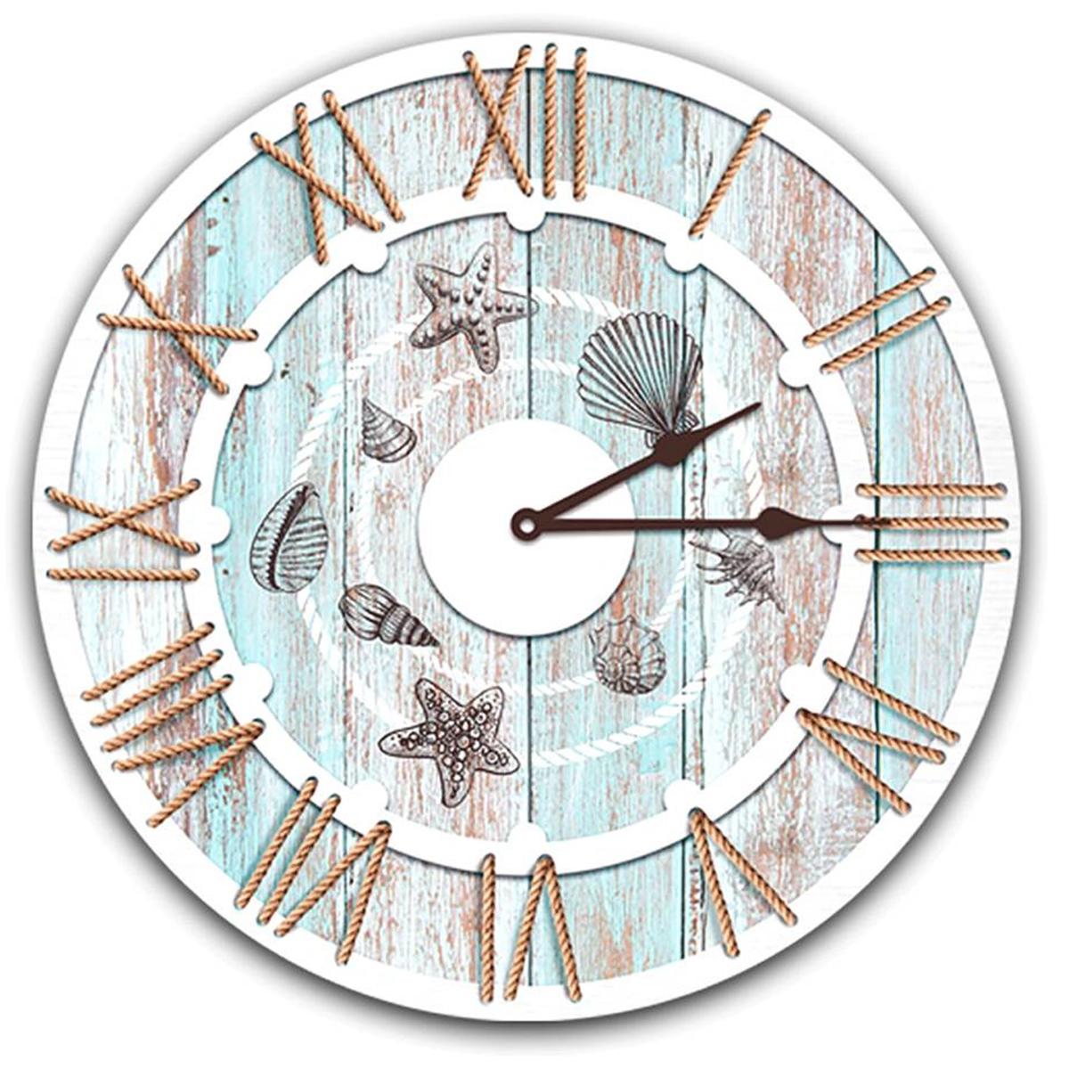 Horloge Murale \'Monde Marin\' beige bleu (coquillages-étoiles) - 40 cm - [Q8270]