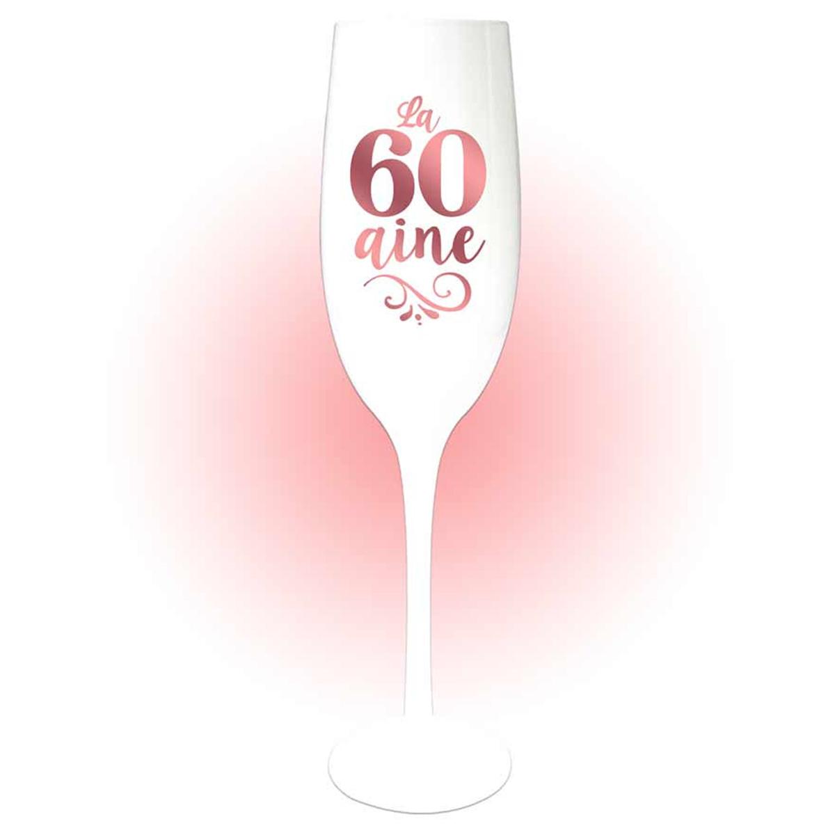 Coupe flute à champagne \'60 aine\' blanc doré rosé (gold pink) - 24x5 cm - [Q8395]