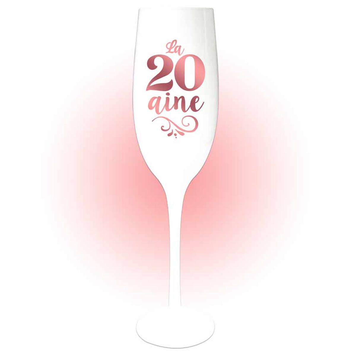 Coupe flute à champagne \'20 aine\' blanc doré rosé (gold pink) - 24x5 cm - [Q8399]