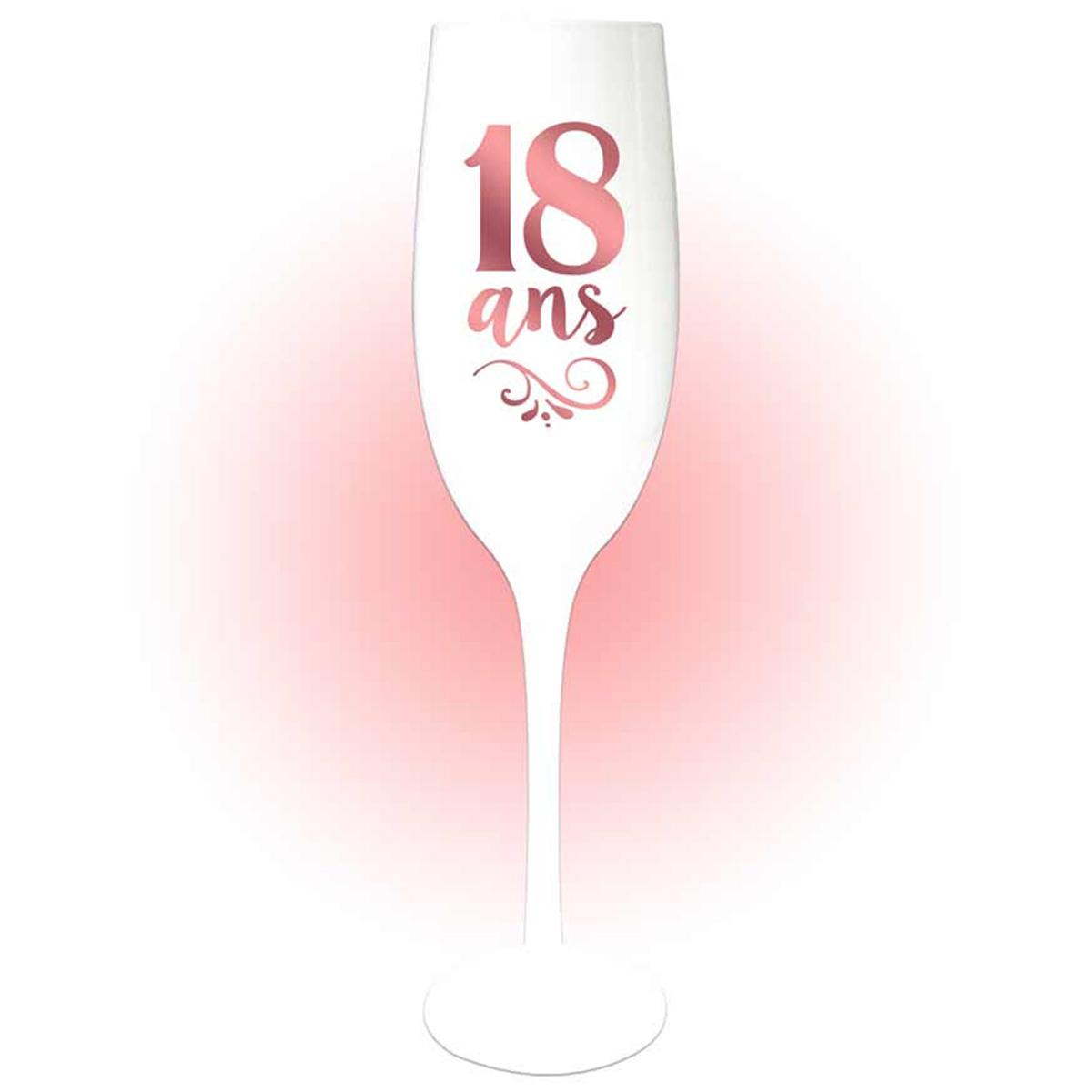 Coupe flute à champagne \'18 ans\' blanc doré rosé (gold pink) - 24x5 cm - [Q8400]