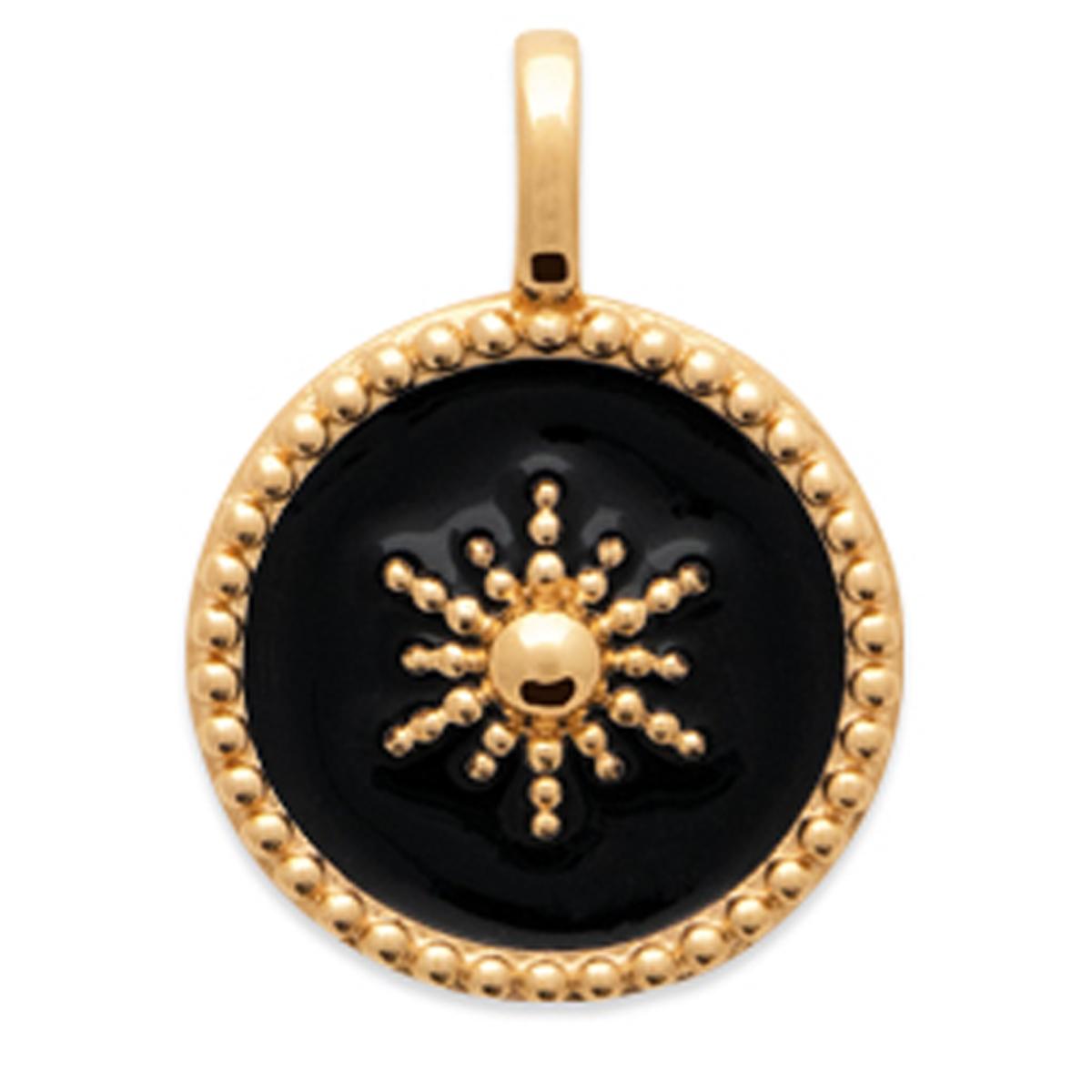 Pendentif Plaqué or \'Cléopatra\' noir doré (étoile) - 13 mm - [Q8475]