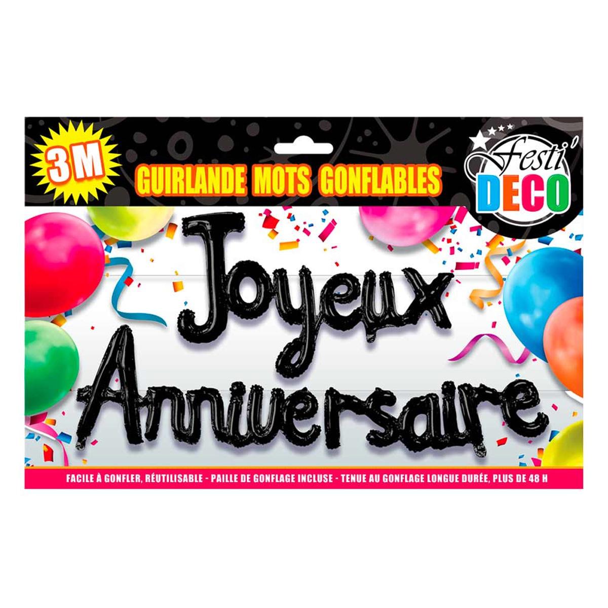 Guirlande de ballons géante \'Joyeux Anniversaire\' noir - 3 m - [Q8513]
