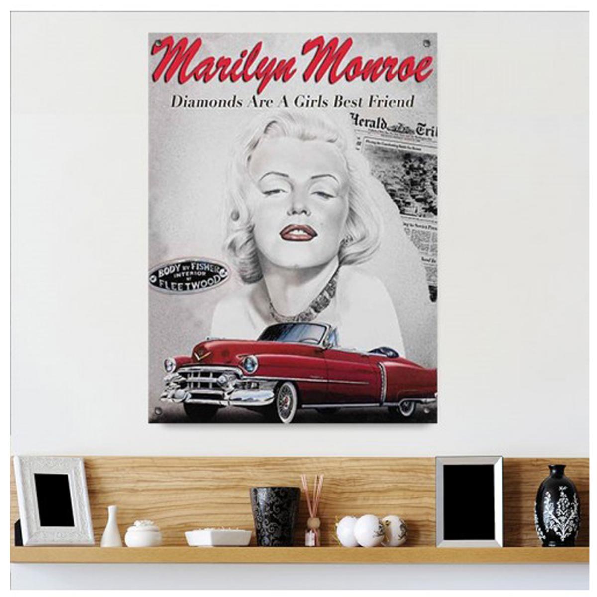 Plaque métal rétro \'Marilyn Monroe\' cadillac (Diamonds are a girls best friend) - 40x30 cm - [Q9180]