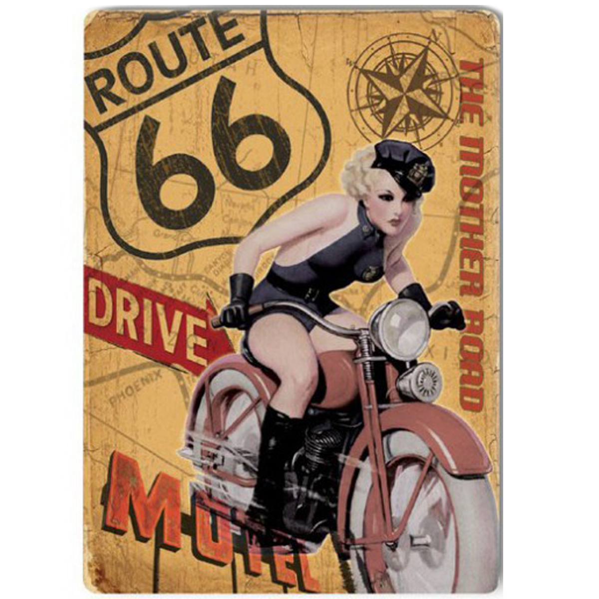 Magnet métal rétro \'Route 66\' (the mother road) - 9x65 cm - [Q9206]