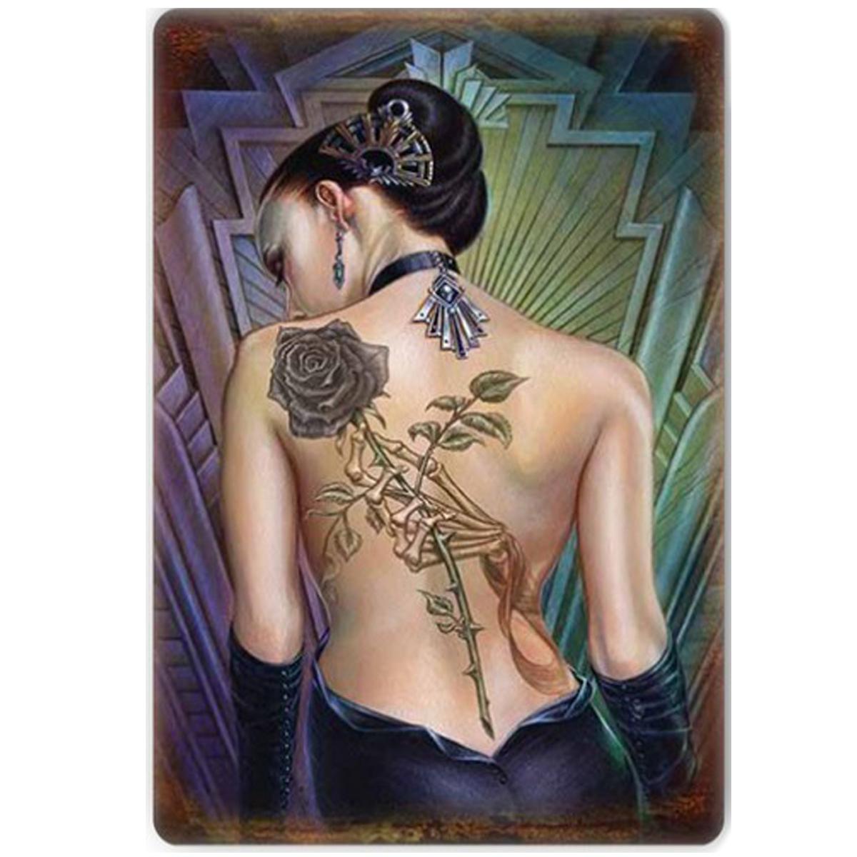 Magnet métal rétro \'Rose des Folies\' tatouage gothique - 9x65 cm - [Q9207]